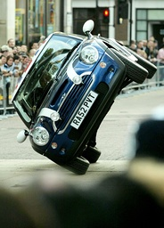 A MINI COOPER ARRIVES AT THE PREMIERE OF THE ITALIAN JOB IN LONDON