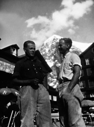 Eduard Rainer and Willy Angerer in front of the Eiger north face, 1936