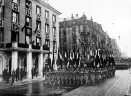 Adolf Hitler inspects a parade of the Hitler Youth in front of the 'Deutschen Hof', 1936