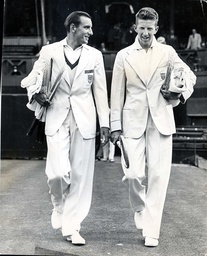 The Davis Cup At Wimbledon Fred Perry Left And Don Budge Taking The Centre Court