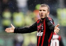 AC Milan's Beckham reacts during their Serie A soccer match against Sampdoria in Genoa