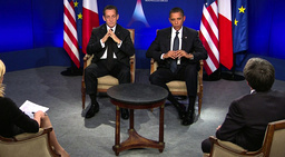 U.S President Barack Obama and France's President Nicolas Sarkozy seen in this still image taken from video as they are interviewd on French TV following the G20 summit in Cannes