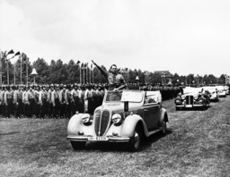 Rudolf Hess at a rally of the NSDAP on the Quistorp-Aue, 1938