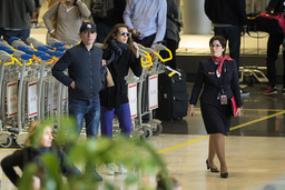 EXCLUSIVE - NO CREDIT - Arrival at Paris-Charles de Gaulle airport for Charlotte Casiraghi and Gad Elmaleh return to Los Angeles