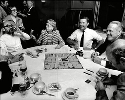 Scene At The First Crime Writers International Congress At The Piccadilly Hotel As The Play 'cluedo'. (l-r) (standing) Ulla Trenter (seated) Desmond Bagley Drinking Lee Wright Dick Francis And Hillary Waugh.