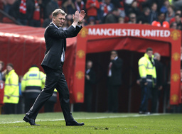 Manchester United's manager David Moyes reacts after their English Premier League soccer match against Aston Villa at Old Trafford in Manchester