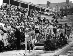 Beach Fashions On Parade At Hastings Bathing Pool.