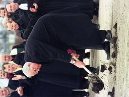 HELMUT KOHL TURNS THE FIRST SOD FOR THE NEW CHANCELLORY