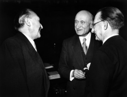 Adenauer, Schumann and de Gasperi during a conference of the Council of Europe