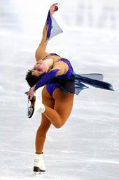 IRINA SLUTSKAYA OF RUSSIA PERFORMS AT THE WORLD FIGURE SKATING CHAMPIONSHIPS IN NAGANO