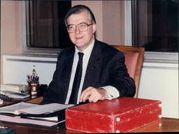 Kenneth Baker At His Desk On His First Day As Home Secretary.