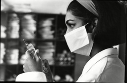 Reita Faria Former Miss World And Now Medical Student Seen Here With Surgical Mask And Syringe 1967.