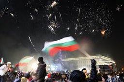 People gather at Sofia's main square to celebrate New Year's Eve