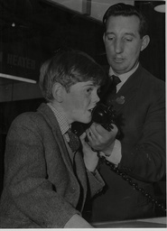 Daily Mail Boys And Girls Exhibition At Olympia London Grandchild Of Sir Winston Churchill Jeremy Soames Sending A Message Via Telstar At The Show