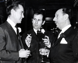 Charles Forte Right (later Lord Forte-died February 2007) At The 100th Birthday Celebrations Of The Cafe Royal With Richard Todd (left) And Arnold Wesker. Charles Forte Baron Forte Of Ripley