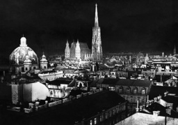 St. Peter's Church and Stephan's Cathedral at night, 1938