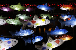 Visitors look at fish-shaped lanterns during the Seoul Lantern Festival in central Seoul