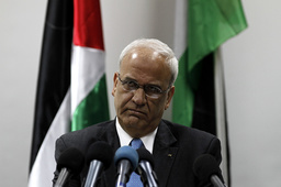 Chief Palestinian negotiator Erekat attends a news conference in Ramallah