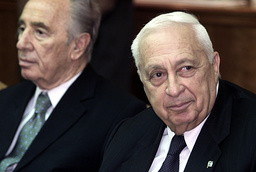 ISRAELI PRIME MINISTER, ARIEL SHARON AND FOREIGN MINISTER SHIMON PERES ATTEND THE WEEKLY CABINET MEETING IN JERUSALEM