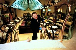 SIR TERENCE CONRAN AT QUAGLINO'S RESTAURANT.LONDON BRITAIN 1993