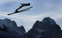 Austria's Thomas Morgenstern soars over Germany's highest mountain Zugspitze and Waxenstein during the second practice of the four-hills ski jumping tournament in Garmisch-Partenkirchen