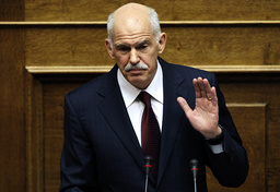 Greek Premier George Papandreou addresses the parliament in Athens