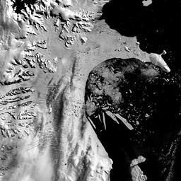 SATELLITE IMAGE OF LARSEN B ICE SHELF BREAKUP