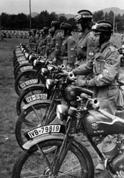 Motor HJ members at the inspection of the motorcycles, 1938