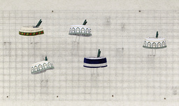 Different types of hats worn by the Tatars are displayed on a wall in a shop in Bakhchisaray
