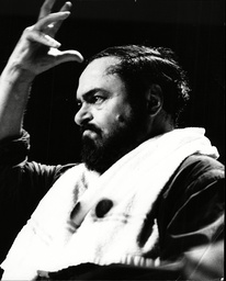 Luciano Pavarotti Opera Singer Rehearsing For His Concert.