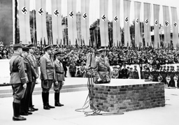 Adolf Hitler at the laying of the foundation stone for the 'House of the German tourism', 1938