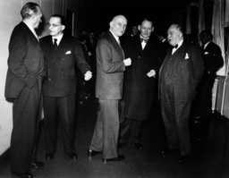 Adenauer, de Casperi, Schuman, Stikker and Bech at conference of Council of Europe