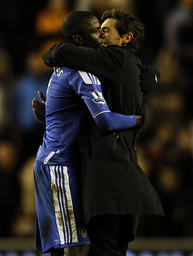 Chelsea's manager Villas-Boas congratulates Ramires after their English Premier League soccer match against Wolverhampton Wanderers