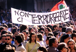 ITALIANS GATHER TO TAKE PART IN A PEACE DEMONSTRATION IN BOLOGNA