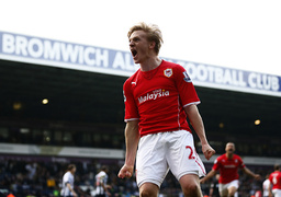 Cardiff City's Daehli celebrates his goal against West Bromwich Albion during their English Premier League soccer match in West Bromwich