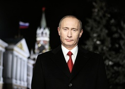 Russian President Putin stands during the recording of the traditional televised New Year address to the people of Russia in the Kremlin in Moscow