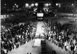 Crowds At Trafalgar Square Watching The Huge Screen For The General Election Results. Lord Carrington Talks To The Press About Labour.