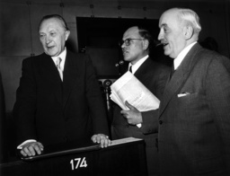 Konrad Adenauer, Eugen Gerstenmaier and Dr. Hermann Pünder at conference of Council of Europe