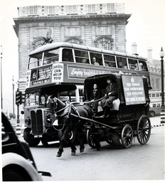 Horse Drawn Transport In Piccadilly Circus London 1939.