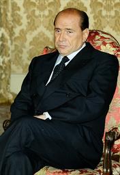 ITALIAN PRIME MINISTER SILVIO BERLUSCONI DURING A MEETING AT ROME'S CHIGI PALACE