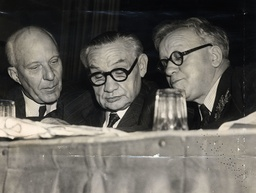 Ernest Bevin Is Seen Chatting To Baron Hugh Dalton And Herbert Morrison At The Labour Party Conference At Margate Winter Garden. Ernest Bevin Secretary Of State For Foreign Affairs And General Secretary Of The Transport And General Workers Union Died
