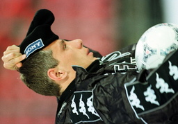 JUVENTUS MIDFIELDER JUGOVIC PUTS ON HAT IN NORWAY