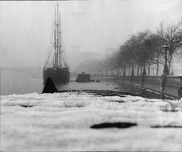 Cold Weather 1960's: River Thames Frozen Over Showing Ship Discovery At Her Berth Among The Thames Ice Beside Victoria Embankment London