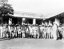 The Philippine–American War. Philipino prisoners of war, posed in courtyard. ca. 1899