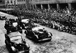 Adolf Hitler in the car parade through Berlin after the French campaign, 1940