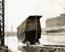Launch Of A Caisson (dockgate) For Admiralty Portsmouth Dockyard. Fairfield Shipbuilding Yard Glasgow