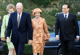 NORWAY'S QUEEN SONJA AND KING HARALD ARRIVE AT ROME'S VILLA MADAMA