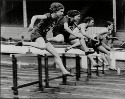 Athletics The 80 Metres Hurdles At The White City Stadium.