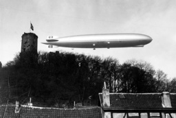 The LZ 127 'Hindenburg' over the Godesburg castle, 1936