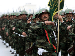 AFGHAN GUARD OF HONOUR MARCHES ALONG STREET OF MAZAR-I-SHARIF